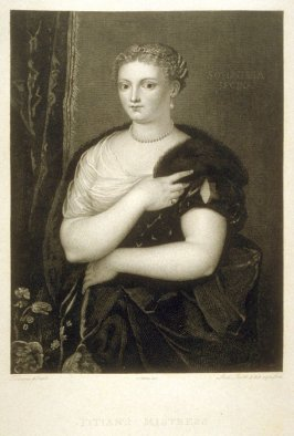 Titian's Mistress (Sofonisba Regina), fifth plate in the book, [Buchanan's Gallery], an untitled collection of engravings primarily from Select Work of Engravings (London: Historic Gallery, 1813-14)]