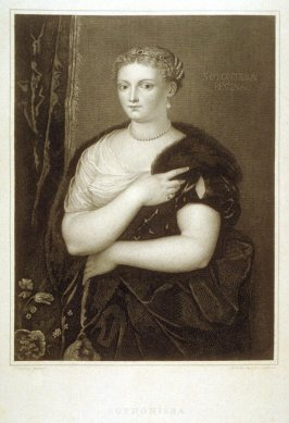 Titian's Mistress (Sofonisba Regina), sixth plate in the book, [Buchanan's Gallery], an untitled collection of engravings primarily from Select Work of Engravings (London: Historic Gallery, 1813-14)]
