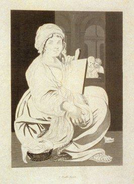 Unidentified seated woman, twenty-seventh plate in the book, [Buchanan's Gallery], an untitled collection of engravings primarily from Select Work of Engravings (London: Historic Gallery, 1813-14)]