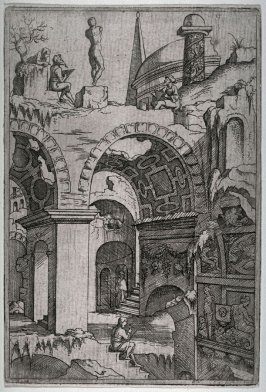 Artists drawing in imaginary antique ruins