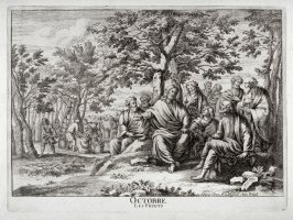(Octobre, from) The 12 Months of the year showing 12 Scenes from the Life of Jesus