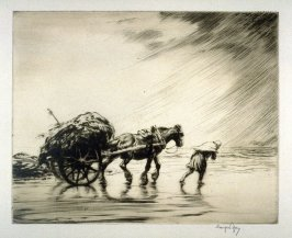 Man leading horse drawn cart