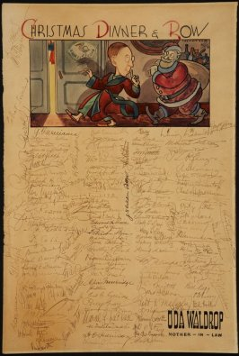 Christmas Dinner & Row; Uda Waldrop, Mother-in-Law (Ilustrated keepsake signed by members of The Family)