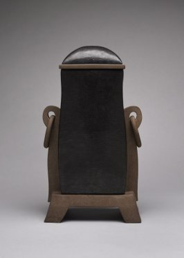 Square lidded vase with ring handles