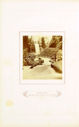 Vernal Fall (350 feet high) and Cap of Liberty (4000 feet above Valley), opposite page 41 in the book The Wonders of the Yosemite Valley and of California by Samuel Kneeland (Boston: Alexander Moore, 1871)
