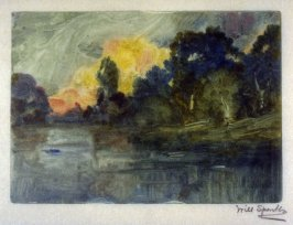 Landscape with trees and water