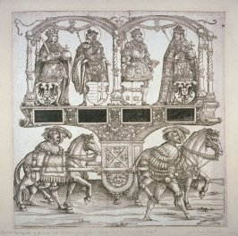 Charles the Great, Clovis, Stephen King of Hungary, and Rudolph I, Block 105 of the series Triumphal Procession of Emperor Maximilian I