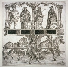 Obert King of Provence, Arthur King of England, John King of Portugal, Godfrey of Bouillon King of Jerusalem, Block 106 of the series Triumphal Procession of Emperor Maximilian I