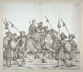 A King and a Queen on Horseback in Royal Dress with Scepters (perhaps the Roman king Philip and his wife Juana), Block 130 of the series Triumphal Procession of Emperor Maximilian I