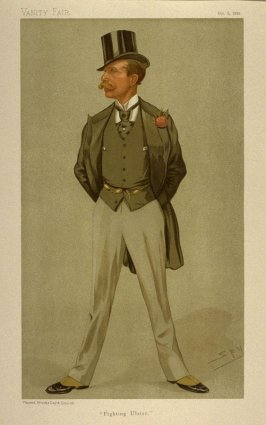 """Fighting Ulster"" (Mr. William Grey Ellison-Macarthney, M.P.) Statesman No. 620, from Vanity Fair, October 5, 1893"