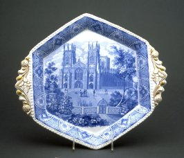 Hexagonal tureen stand with scene of York Cathedral