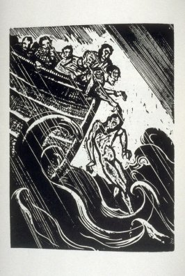 [Jonah cast into the sea], fourth illustration from beginning of Hebrew text, in The Book of Jonah (Philadelphia: The Jewish Publication Society, 5713-1953)
