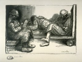 Permissionaires endormis dans une gare (Soldiers on short leave, asleep in a railway station)