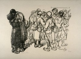 Les Adieux: Poilu embarassant une jeune femme (The goodbye: a soldier embracing a young woman)