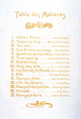 Table of Contents, Chansons de femmes (suite de 15 lithographs)