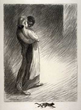 Young lovers embracing in the street