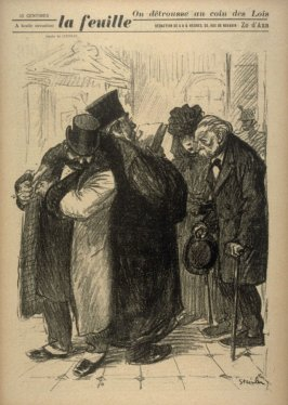 On détrusse au coin des lois (One Robs in the Shelter of the Law), cover for La Feuille no. 22 (21 December 1898)