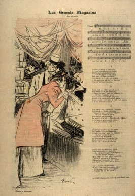 Illustration for the song, Les Grands Magasins (The fashionable shops) by Xanrof, published in the periodical, Gil Blas