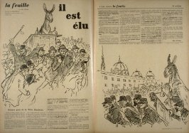 Il est élu (He is Elected), cover for La Feuille, no. 12 (19 May 1898)