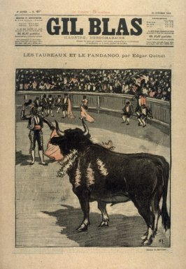 "Les Taureaux et le Fandango by Edgar Quinet from the Paris Daily ""Gil Blas"""
