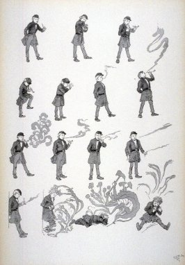 A young man's introduction to pipe smoking, from Le Chat Noir