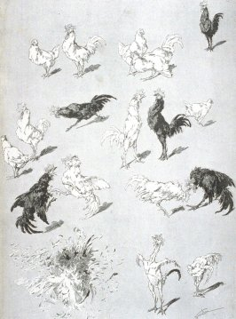 A pathetic cock fight, from Le Chat Noir