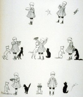 A black cat, a white cat,and a little boy with bread and jam, from Le Chat Noir
