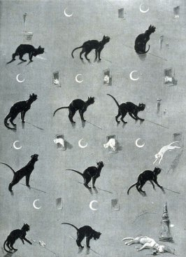 A moonlight cat tragedy, from Le Chat Noir