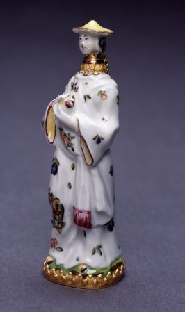 Scent Bottle in the form of a Chinese Man Holding a Bird