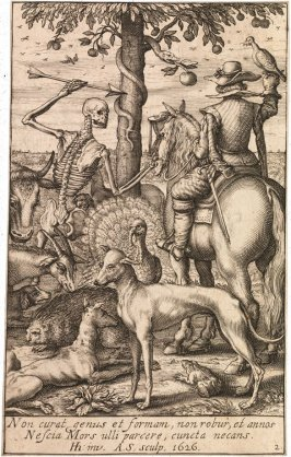 Death with Falconer and Animals, title page to Memento Mori