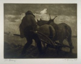 The Farmer ploughing - Illustrations to the Earth Fiend (a Ballad by Strang)