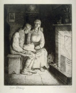 The Farmer and His Wife reading before the fire - Illustrations to the Earth Fiend (a Ballad by Strang)