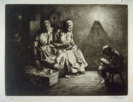 A dark room with two women and a baby in a cradle, a boy reading a book
