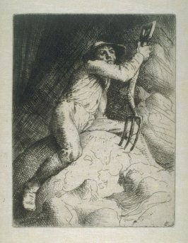 The Farmer on Knoll with Pitchfork. Illustrations to the Earth Fiend (a Ballad by Strang).