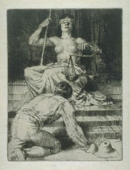 The Farmer Kneeling before Justice. Illustration to the Earth Fiend (a Ballad by Strang)