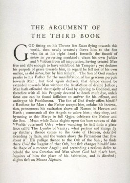 Milton's Paradise Lost - Textpage: The Argument of the Third Book