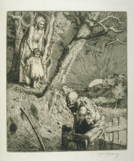 Death imprisoned, plate at p.15 in the book, Death and the Ploughman's Wife (London: Lawrence and Bullen, 1894)