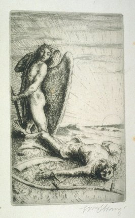 Death defeated, plate at p.18 in the book, Death and the Ploughman's Wife (London: Lawrence and Bullen, 1894)