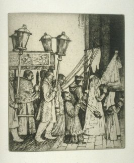 A religious Procession, plate at p. 23, in the book, Western Flanders (London: at the Sign of the Unicorn, 1899)