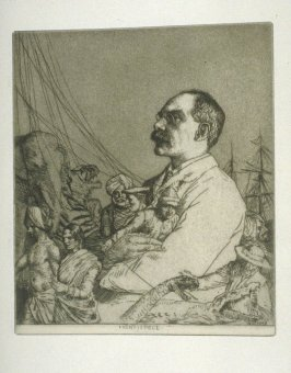 Portrait of Rudyard Kipling, plate 1 in the book, A Series of thirty Etchings … illustrating Subjects from the Writings of Rudyard Kipling (London: Macmillan, 1901)