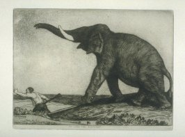 My Lord the Elephant, plate 23 in the book, A Series of thirty Etchings … illustrating Subjects from the Writings of Rudyard Kipling (London: Macmillan, 1901)