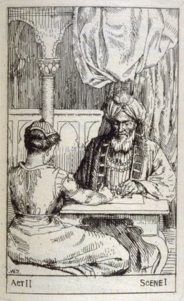 Sittah and Saladin, act 2, scene 2,opposite page 56 and third plate in the book Nathan the Wise by Gottfried Lessing, translated by William Jacks (Glasgow: James Maclehose & Sons, 1894)