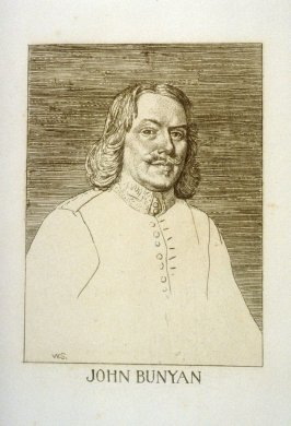 John Bunyan, frontispiece portrait and first plate in the book The Pilgrim's Progress by John Bunyan (London: John C. Nimmo, 1895)