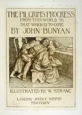 Bunyan's Wife Reading the Bible to Him,title page and second plate in the book The Pilgrim's Progress by John Bunyan (London: John C. Nimmo, 1895)