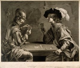 Soldier and Scholar playing at cards