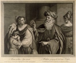 Abraham giving up the hand maid Hagar