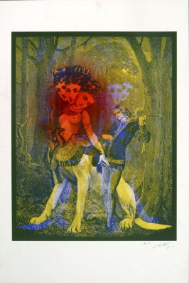 Untitled (Abstract Forest Scene with Male Musician, Woman Bird Dog with Three Heads)