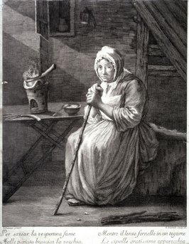 An Old Woman Cooking Onions, after Scheneau