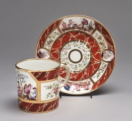 Cup and saucer (tasse litron et soucoupe) with chinoiserie scenes