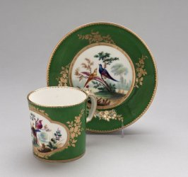 Cup and saucer, green ground